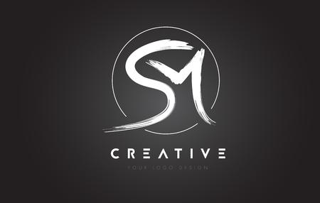 sm brush letter logo design artistic handwritten brush letters