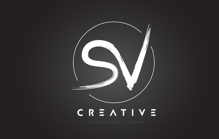 SV Brush Letter Logo Design. Artistic Handwritten Brush Letters Logo Concept Vector.