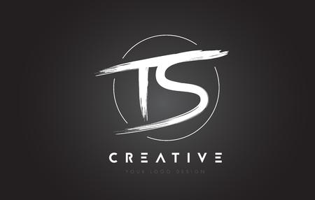 TS Brush Letter Logo Design. Artistic Handwritten Brush Letters Logo Concept Vector.