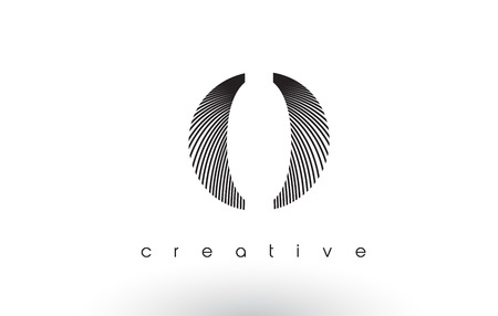 O Logo Design With Multiple Lines. Artistic Elegant Black and White Lines Icon Vector Illustration.