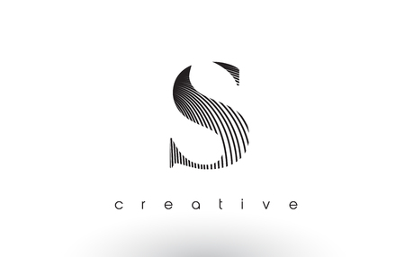 S Logo Design With Multiple Lines. Artistic Elegant Black and White Lines Icon Vector Illustration. Иллюстрация