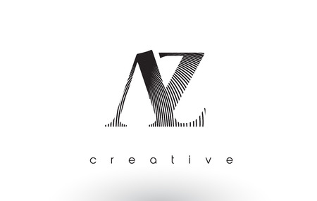 AZ Logo Design With Multiple Lines. Artistic Elegant Black and White Lines Icon Vector Illustration.