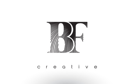 BF Logo Design With Multiple Lines. Artistic Elegant Black and White Lines Icon Vector Illustration.