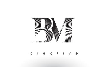 BM Logo Design With Multiple Lines. Artistic Elegant Black and White Lines Icon Vector Illustration. Logó
