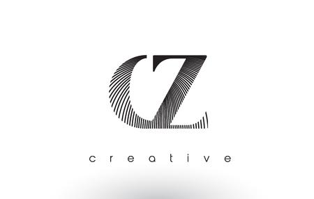 cz: CZ Logo Design With Multiple Lines. Artistic Elegant Black and White Lines Icon Vector Illustration. Illustration