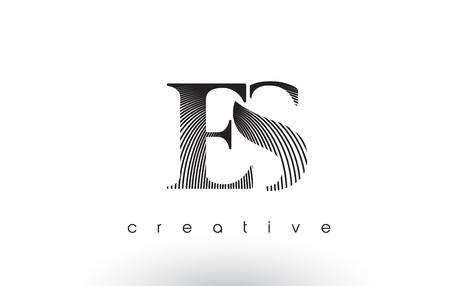 複数行の ES ロゴデザイン。エレガントな黒と白の芸術的なライン、アイコンのベクトル図です。