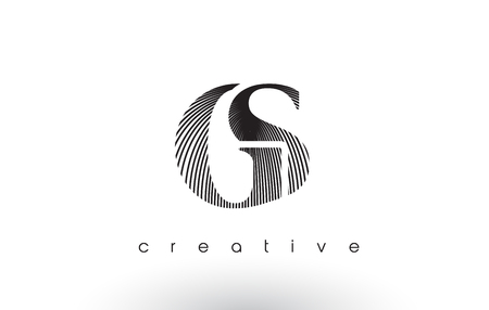GS Logo Design With Multiple Lines. Artistic Elegant Black and White Lines Icon Vector Illustration.