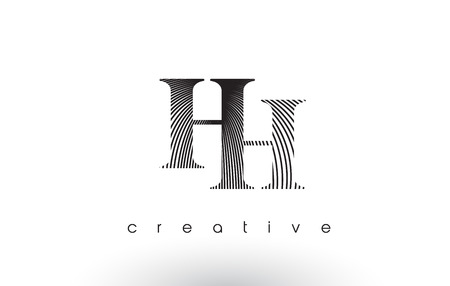 letter c: HH Logo Design With Multiple Lines. Artistic Elegant Black and White Lines Icon Vector Illustration.