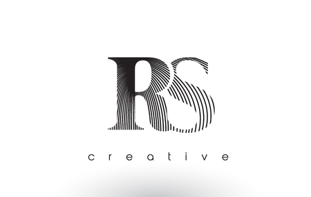 RS Logo Design With Multiple Lines. Artistic Elegant Black and White Lines Icon Vector Illustration.