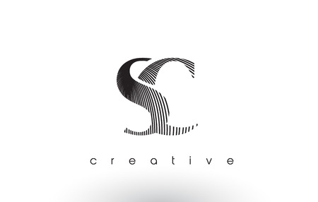 SC Logo Design With Multiple Lines. Artistic Elegant Black and White Lines Icon Vector Illustration.