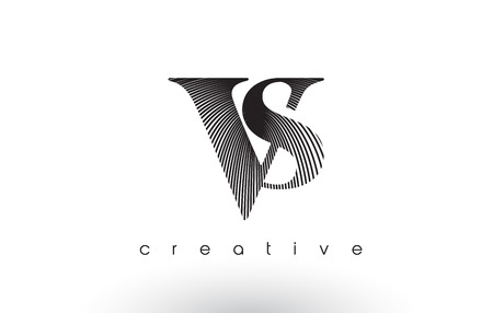 VS Logo Design With Multiple Lines. Artistic Elegant Black and White Lines Icon Vector Illustration. Иллюстрация