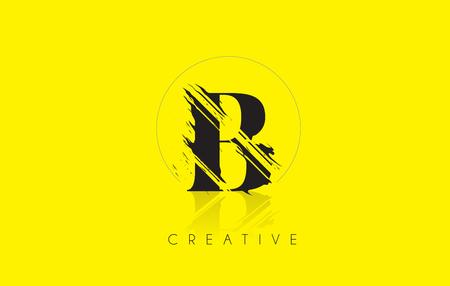 grundge: B Letter Logo with Vintage Grundge Cut Design. Destroyed Drawing Elegant Letter Icon Vector. Illustration