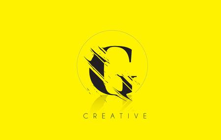 G Letter Logo with Vintage Grundge Cut Design. Destroyed Drawing Elegant Letter Icon Vector.