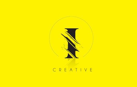 grundge: I Letter Logo with Vintage Grundge Cut Design. Destroyed Drawing Elegant Letter Icon Vector. Illustration