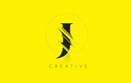 J Letter Logo with Vintage Grundge Cut Design. Destroyed Drawing Elegant Letter Icon Vector.