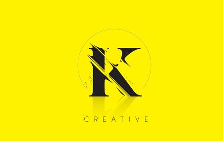grundge: K Letter Logo with Vintage Grundge Cut Design. Destroyed Drawing Elegant Letter Icon Vector.