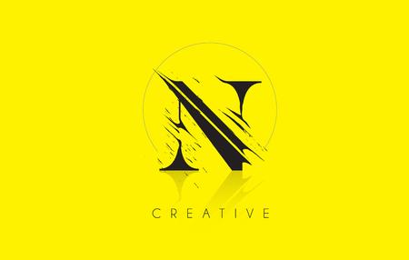 N Letter Logo with Vintage Grundge Cut Design. Destroyed Drawing Elegant Letter Icon Vector.
