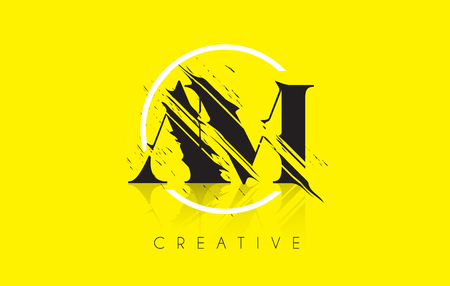 grundge: AM Letter Logo with Vintage Grundge Cut Design. Destroyed Drawing Elegant Letter Icon Vector. Illustration