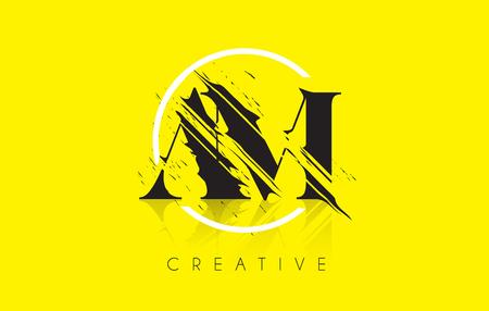 AM Letter Logo with Vintage Grundge Cut Design. Destroyed Drawing Elegant Letter Icon Vector. Illustration