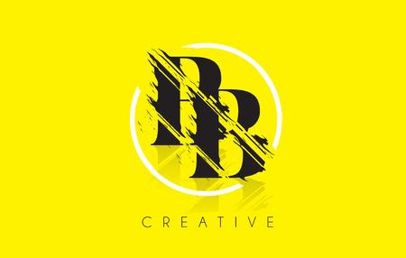 cutted: BB Letter Logo with Vintage Grundge Cut Design. Destroyed Drawing Elegant Letter Icon Vector.