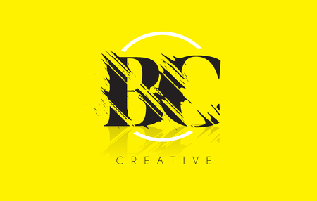 BC Letter Logo with Vintage Grundge Cut Design. Destroyed Drawing Elegant Letter Icon Vector.