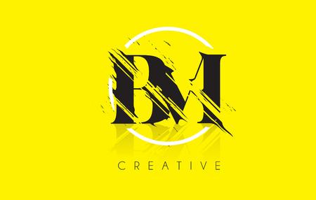 BM Letter Logo with Vintage Grundge Cut Design. Destroyed Drawing Elegant Letter Icon Vector.
