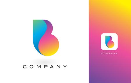 B Logo Letter With Rainbow Vibrant Colors. Colorful Modern Trendy Purple and Magenta Letters Vector Illustration. Illusztráció
