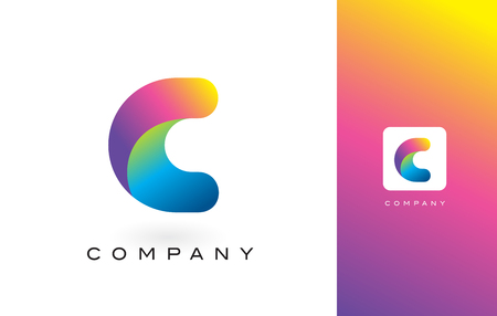 letter c: C Logo Letter With Rainbow Vibrant Colors. Colorful Modern Trendy Purple and Magenta Letters Vector Illustration. Illustration