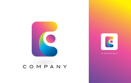 E Logo Letter With Rainbow Vibrant Colors. Colorful Modern Trendy Purple and Magenta Letters Vector Illustration. Ilustracja