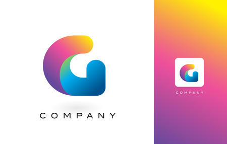 G Logo Letter With Rainbow Vibrant Colors. Colorful Modern Trendy Purple and Magenta Letters Vector Illustration.