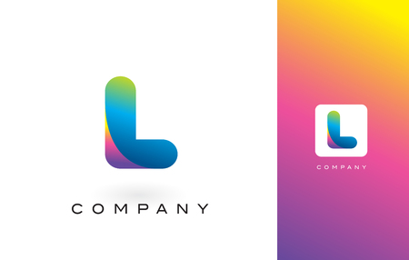 L Logo Letter With Rainbow Vibrant Colors.L Colorful Modern Trendy Purple and Magenta Letters Vector Illustration.