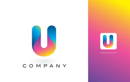 U-embleembrief met Regenboog Trillende Kleuren U Kleurrijke Moderne In Purpere en Magenta Brieven Vectorillustratie. Stock Illustratie