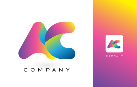 ac: AC Logo Letter With Rainbow Vibrant Colors. Colorful Modern Trendy Purple and Magenta Letters Vector Illustration.
