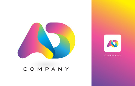레인 보우 활기찬 색상으로 AD 로고 편지입니다. 다채로운 현대 유행 보라색과 자홍 글자 벡터 일러스트 레이 션. 일러스트
