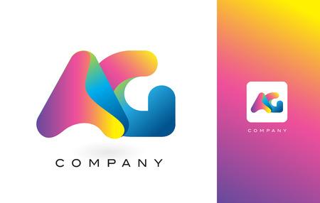 AG Logo Letter With Rainbow Vibrant Colors. Colorful Modern Trendy Purple and Magenta Letters Vector Illustration. Illusztráció