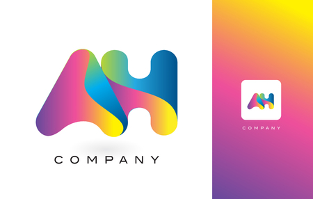 AH Logo Letter With Rainbow Vibrant Colors. Colorful Modern Trendy Purple and Magenta Letters Vector Illustration.