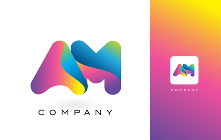 AM Logo Letter With Rainbow Vibrant Colors. Colorful Modern Trendy Purple and Magenta Letters Vector Illustration.