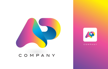 AP Logo Letter With Rainbow Vibrant Colors. Colorful Modern Trendy Purple and Magenta Letters Vector Illustration.