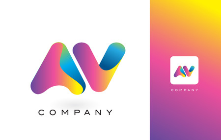 AV Logo Letter With Rainbow Vibrant Colors. Colorful Modern Trendy Purple and Magenta Letters Vector Illustration. Illustration