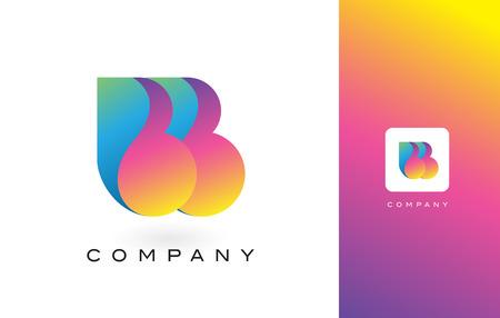 레인 보우 역동적 인 색상으로 BB 로고 편지입니다. 다채로운 현대 유행 보라색과 자홍 글자 벡터 일러스트 레이 션. 일러스트