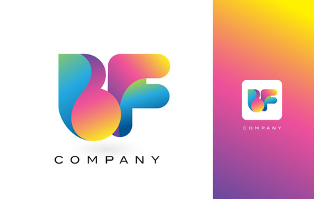 BF Logo Letter With Rainbow Vibrant Colors. Colorful Modern Trendy Purple and Magenta Letters Vector Illustration. Illustration