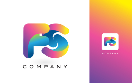 FS Logo Letter With Rainbow Vibrant Colors. Colorful Modern Trendy Purple and Magenta Letters Vector Illustration. Ilustração