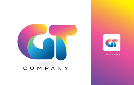 레인 보우 역동적 인 색상으로 GT 로고 편지입니다. 다채로운 현대 유행 보라색과 자홍 글자 벡터 일러스트 레이 션. 일러스트