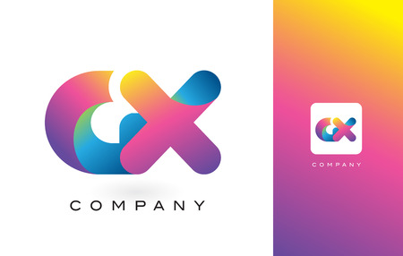 GX Logo Letter With Rainbow Vibrant Colors. Colorful Modern Trendy Purple and Magenta Letters Vector Illustration.