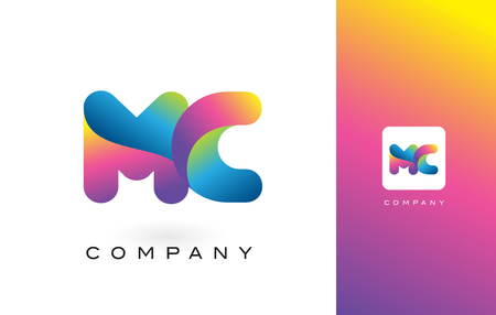 MC Logo Letter With Rainbow Vibrant Colors. Colorful Modern Trendy Purple and Magenta Letters Vector Illustration.