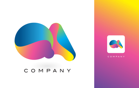 control de calidad: QA Logo Letter With Rainbow Vibrant Colors. Colorful Modern Trendy Purple and Magenta Letters Vector Illustration.