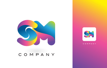 SM Logo Letter With Rainbow Vibrant Colors. Colorful Modern Trendy Purple and Magenta Letters Vector Illustration. Ilustrace