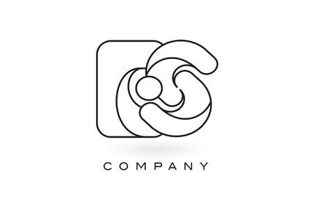 ES Monogram Letter Logo With Thin Black Monogram Outline Contour. Modern Trendy Letter Design Vector Illustration. Logó