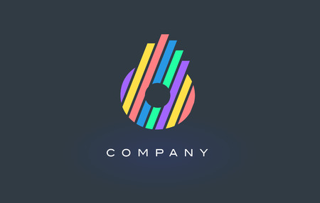 O Letter Logo Design with Colorful Rainbow Lines Vector. Rainbow Letter Icon Illustration