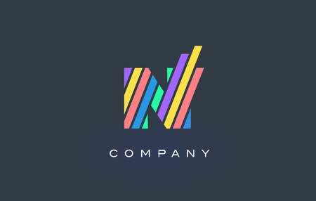 N Letter Logo Design with Colorful Rainbow Lines Vector. Rainbow Letter Icon Illustration